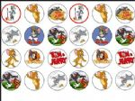 24 x Tom and Jerry Edible Wafer Rice Paper Cup Cake Top Toppers